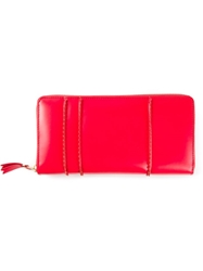 Comme Des Garcons Play Stitched Seam Wallet Red