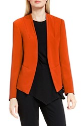 Vince Camuto Women's Collarless Open Front Blazer Vivid Flame