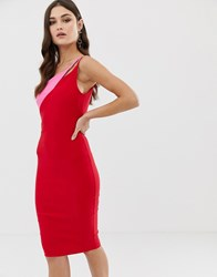 Vesper Cut Out Shoulder Midi Pencil Dress In Contrast Red And Pink Red Pink Multi