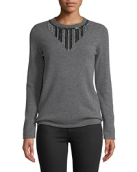 Neiman Marcus Embellished Front Cashmere Pullover Sweater Charcoal
