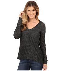 Bobeau Asymmetric Shimmer T Shirt Charcoal Grey Women's T Shirt Gray