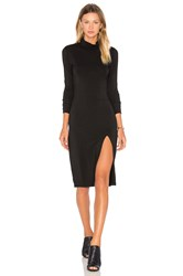 Bobi Jersey Long Sleeve Turtleneck Mini Dress Black