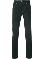 Isaia Long Corduroy Style Trousers Green