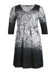 Samya Buttoned Forest Print Dress Grey