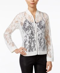 Fair Child Sheer Lace Bomber Jacket Winter White