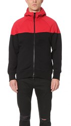 Rag And Bone Color Block Precision Hoodie Fiery Red Black