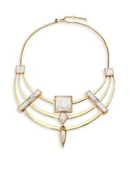 Alexis Bittar Miss Havisham Deconstructed Deco Howlite And Crystal Armored Bib Necklace Gold