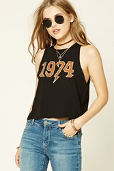 Forever 21 1974 Graphic Tank Top Black Orange