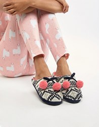 Totes Mule Slippers Navy Pink