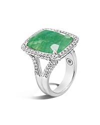 John Hardy Sterling Silver Classic Chain Magic Cut Emerald Ring With Diamonds Green Silver