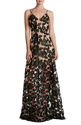 Dress The Population Women's Soutache Lace Fit And Flare Gown