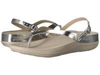 Fitflop Flip Leather Sandals Silver Mirror Women's Shoes