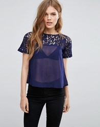 Girls On Film Sheer Lace Top Navy