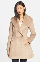 Women's Trina Turk 'Bonnie' Shawl Collar Skirted Coat Fawn