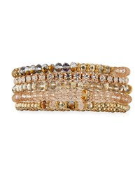 Emily And Ashley Mixed Crystal Bead Stretch Bracelets Beige