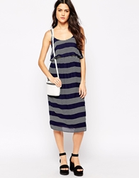Influence Double Layer Striped Maxi Dress Navy