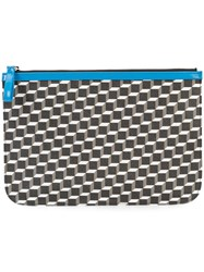 Pierre Hardy Geometric Print Pouch Unisex Patent Leather Canvas One Size Black
