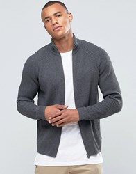 Jack And Jones Ribbed Funnel Neck Zipped Cardigan Dark Grey