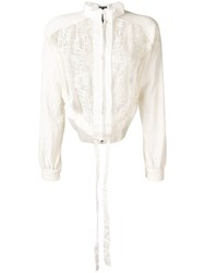 Ann Demeulemeester Floral Embroidered Cropped Jacket White