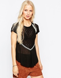 Hazel Lace Mix T Shirt Black