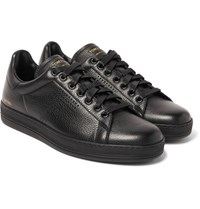 Tom Ford Warwick Perforated Grained Leather Sneakers Black
