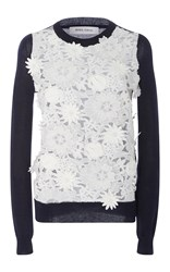 Prabal Gurung Long Sleeve Knit With Lace Front Multi