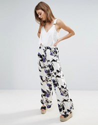 Vero Moda Printed Wide Leg Trouser Snow White Aop Flowe Multi