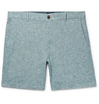 Club Monaco Baxter Slim Fit Stretch Linen And Cotton Blend Chambray Shorts Blue