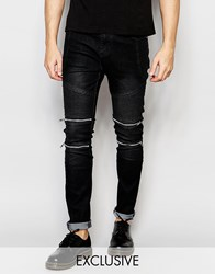 Liquor And Poker Skinny Zip Biker Jeans In Black Clean Black