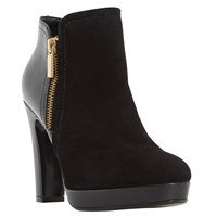 Dune Oscar High Heel Ankle Boots Black Suede