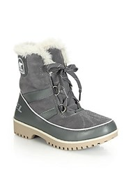Sorel Tivoli Ii Faux Fur Trimmed Suede And Leather Lace Up Boots Black