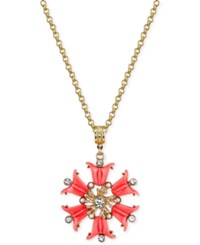 2028 Gold Tone Stone And Imitation Pearl Flower Pendant Necklace