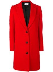 Lanvin Single Breasted Whipcord Coat Women Acetate Cupro Wool 40 Red
