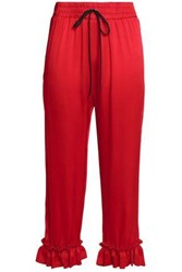 Mother Of Pearl Ruffle Trimmed Satin Crepe Straight Leg Pants Red