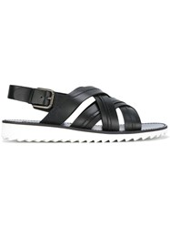 Dolce And Gabbana Cross Over Strap Sandals Black