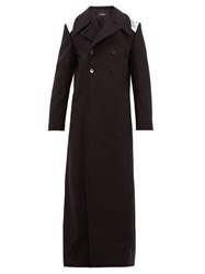 Raf Simons Extra Longline Double Breasted Wool Coat Black