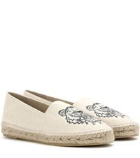 Kenzo Embroidered Espadrilles Beige