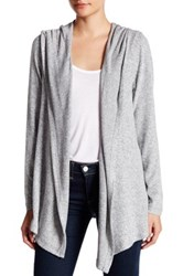 Harlowe And Graham Soft Knit Hooded Fleece Cardigan Petite Gray