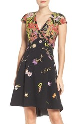 Adrianna Papell Women's Placed Print Fit And Flare Dress
