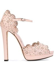 Alexander Mcqueen Studded Laser Cut Sandals Pink And Purple