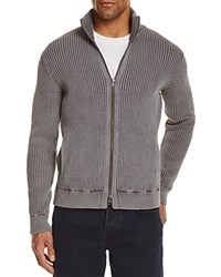 Bloomingdale's The Men's Store At Ribbed Cotton Zip Cardigan Sweater Gray