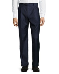 Hickey Freeman Worsted Wool Trousers Navy