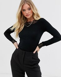 Y.A.S Boat Neck Long Sleeve Top With Lace Detail Black