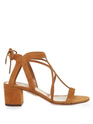 Aquazzura Fiji Suede Block Heel Sandals Tan