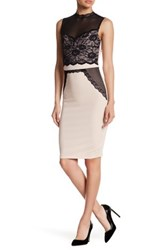 Trixxi Crepe And Lace Illusion Bodycon Dress Beige