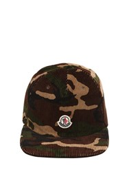 Moncler Logo Detail Camo Corduroy Hat Camouflage