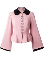 Olympia Le Tan Peplum Blazer With Long Wide Sleeves Red