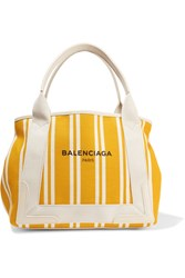 Balenciaga Navy Cabas Leather Trimmed Striped Canvas Tote Yellow