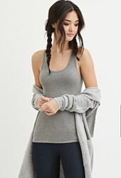Forever 21 Classic Ribbed Racerback Tank Heather Grey