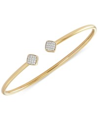 Wrapped Diamond Square Flexy Bangle Bracelet 1 6 Ct. T.W. In 14K Gold Plated Sterling Silver